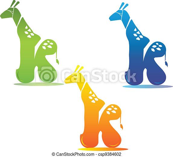 Giraffe and letter k - csp9384602