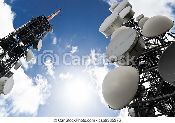telecommunication towers view from below - csp9385376