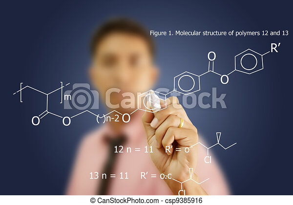 Teacher write scientific formula. - csp9385916
