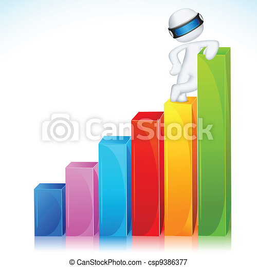 3d Man in Vector Standing on Bar Graph - csp9386377