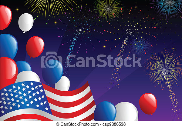 Fourth of July fireworks - csp9386538