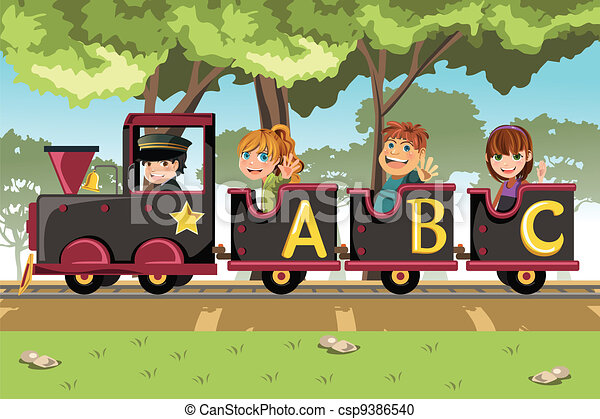 Kids riding alphabet train - csp9386540