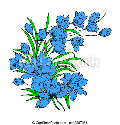 Flower bouquet, painted by hand.  - csp9387061