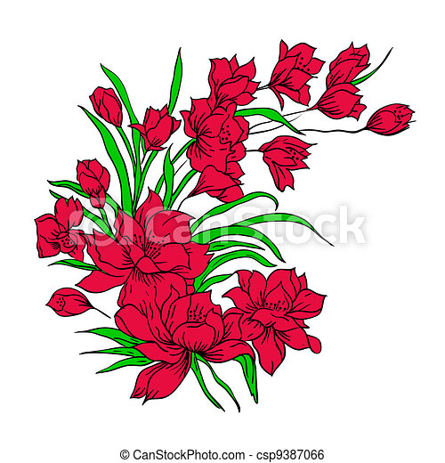 Flower bouquet, painted by hand. - csp9387066