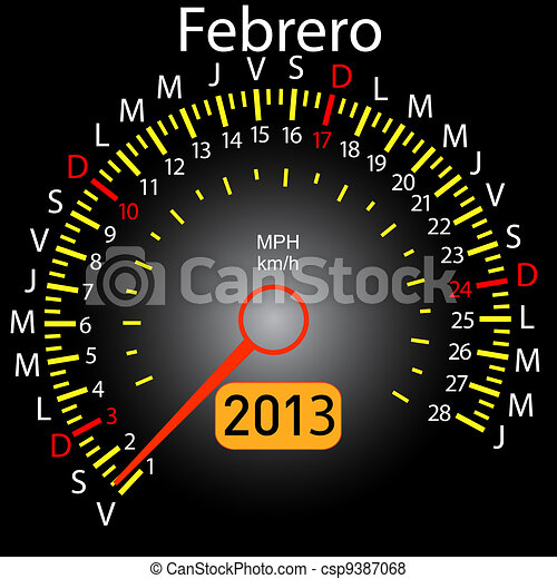 2013 year calendar speedometer car in Spanish. February - csp9387068