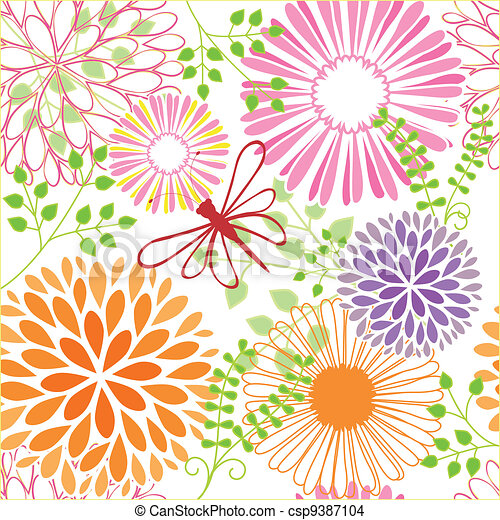 Springtime colorful flower seamless pattern - csp9387104