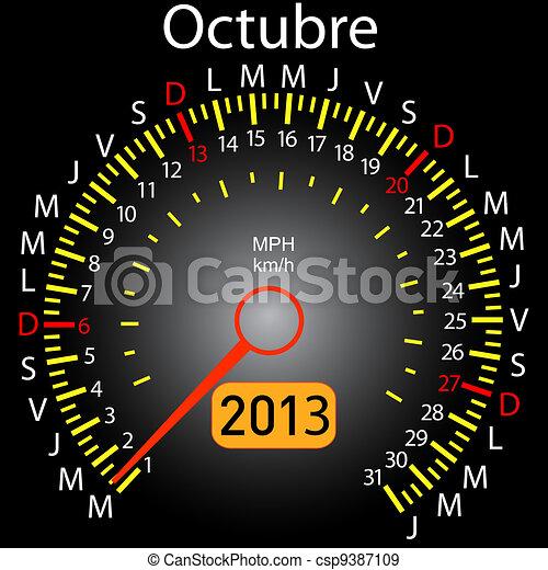 2013 year calendar speedometer car in Spanish. October - csp9387109