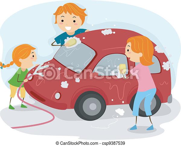 Vecteurs eps de voiture famille laver illustration de a famille csp9387539 - Coloriage car wash ...