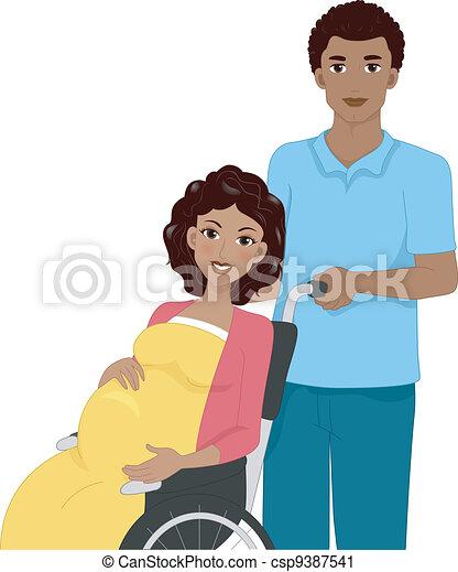 Pregnant Woman in a Wheelchair - csp9387541