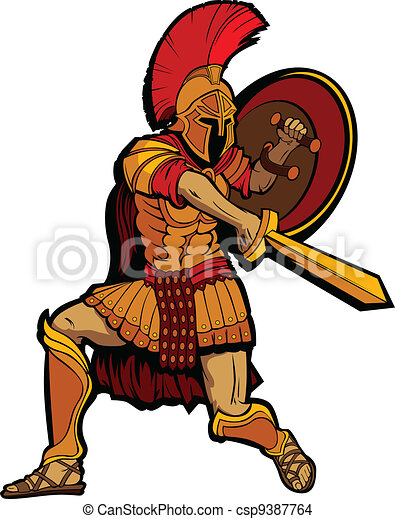 Spartan Mascot Standing with Sword and Shield Vector Illustratio - csp9387764
