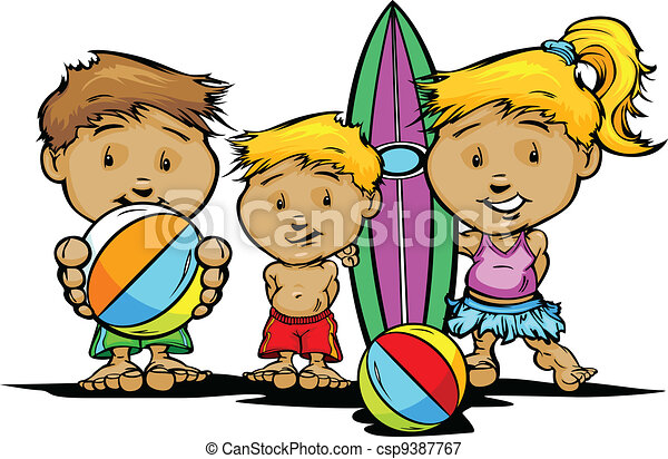 Summer Beach or Swimming Pool Kids Vector Image - csp9387767