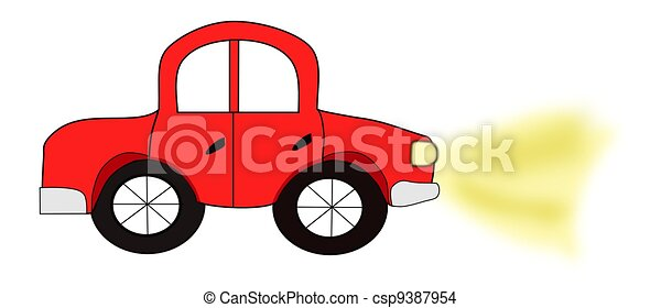 Red Automobile with Headlights - csp9387954