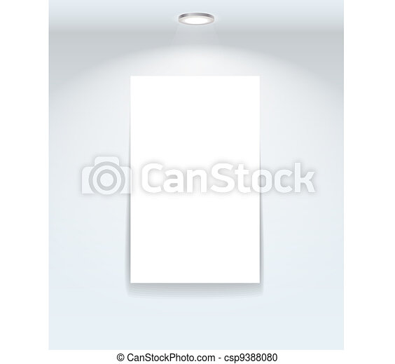 Illuminated frame on the wall - csp9388080