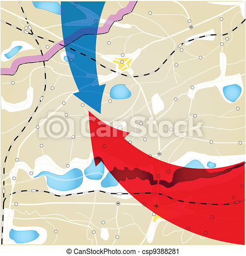 Geography plan with color arrows - csp9388281