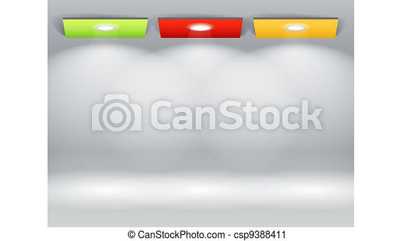 Illuminated wall of colorful panels - csp9388411