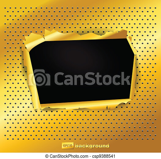 Damaged gold texture with a hole - csp9388541
