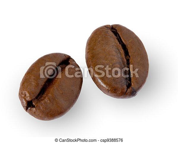 two coffee beans on white - csp9388576