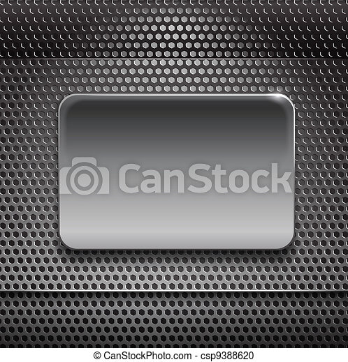 Steel board on metal background - csp9388620
