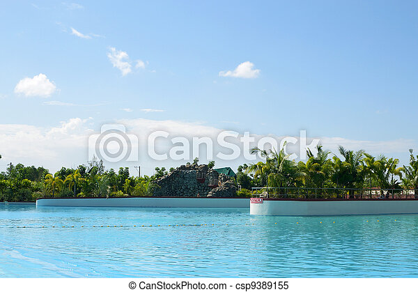 suburb clubhouse swimming pool on a hot summer weather. - csp9389155