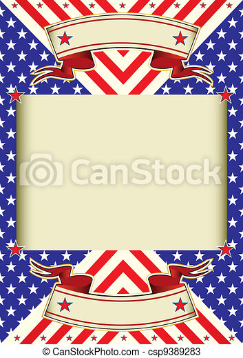 American flag frame background - csp9389283