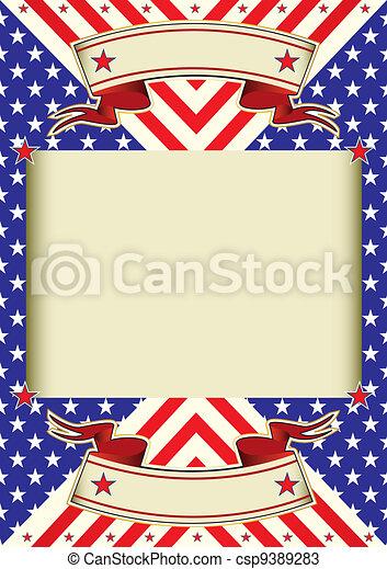 American flag frame background - csp9389283