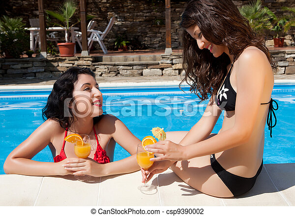 Chatting at the poolside - csp9390002