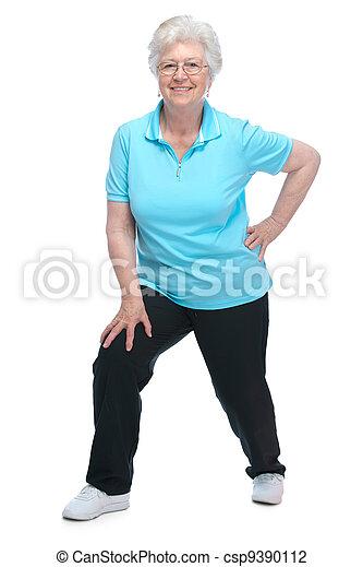 Attractive senior woman at health club - csp9390112