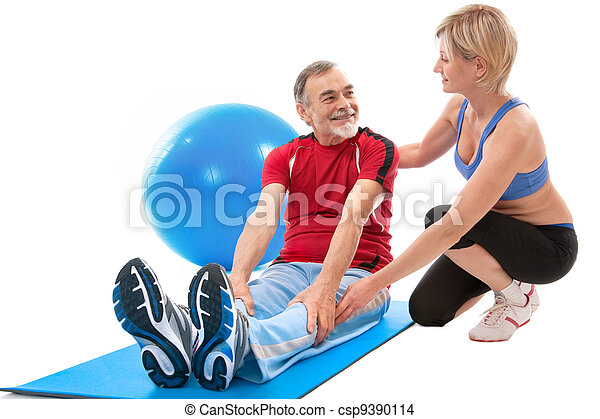 Senior man doing fitness exercise - csp9390114
