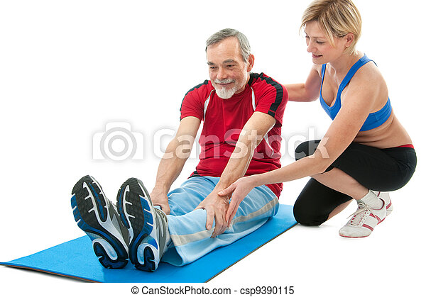 Senior man doing fitness exercise - csp9390115