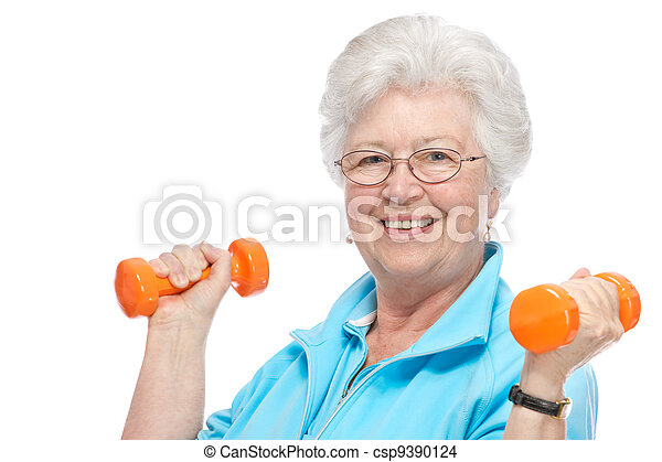 Attractive senior woman at health club - csp9390124