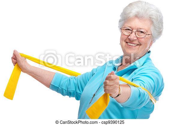 senior woman at gym - csp9390125