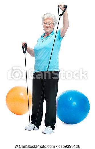 Attractive senior woman at health club - csp9390126