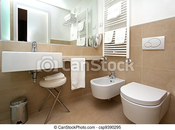Stock Images of Modern beige bathroom - Modern bathroom interior with... csp9390295 - Search ...