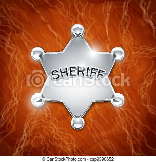 sheriff's metallic badge as star on leather texture - csp9390652