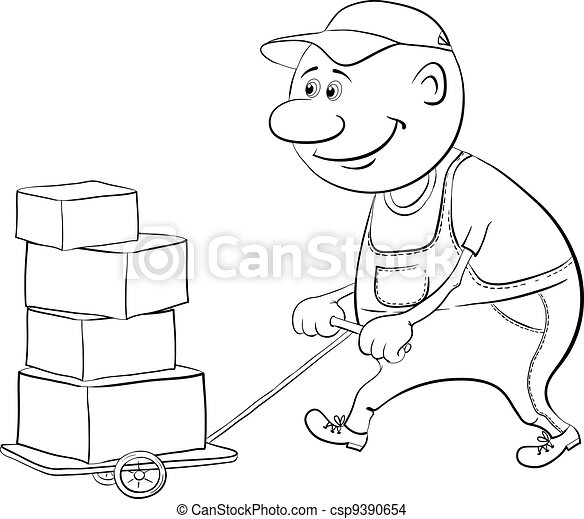 Porter driven truck with boxes, outline - csp9390654