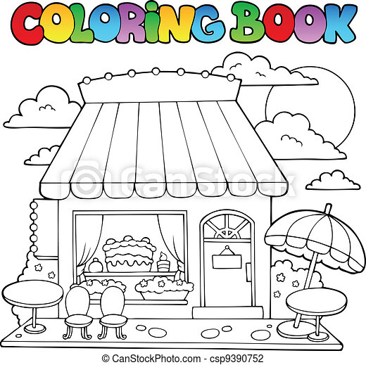 Coloring book cartoon candy store - csp9390752