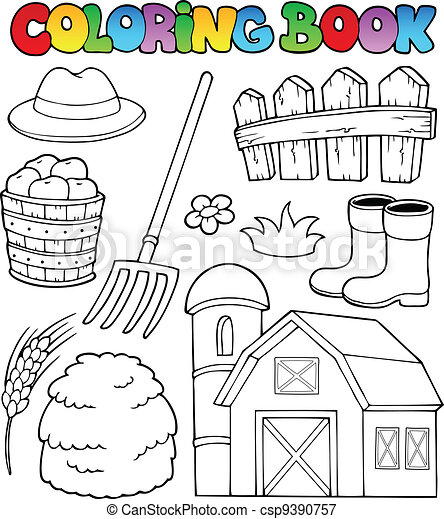 Coloring book farm theme 2 - csp9390757