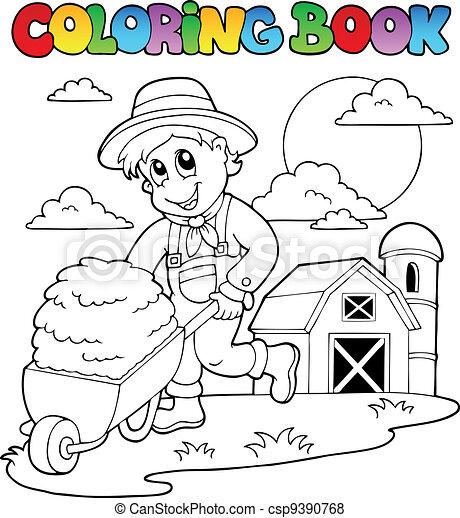 Coloring book farm theme 3 - csp9390768