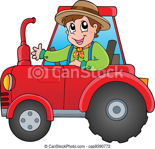 Cartoon farmer on tractor - csp9390772