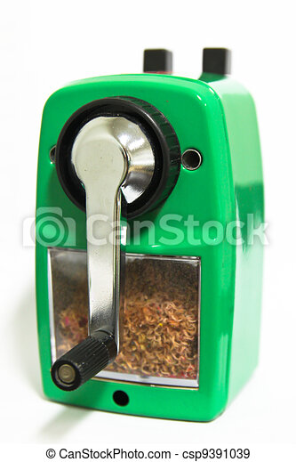 Grinding manual pencil sharpener isolated - csp9391039