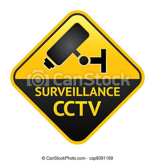 CCTV sign, video surveillance label - csp9391169