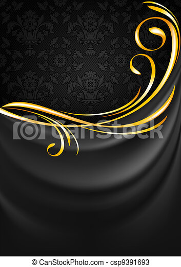 Dark gray fabric curtain background. Gold vignette - csp9391693