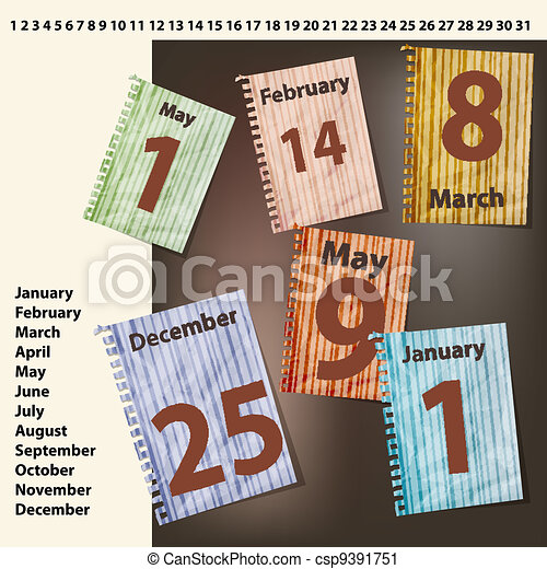 vector sheets of calendar with international holidays dates - csp9391751