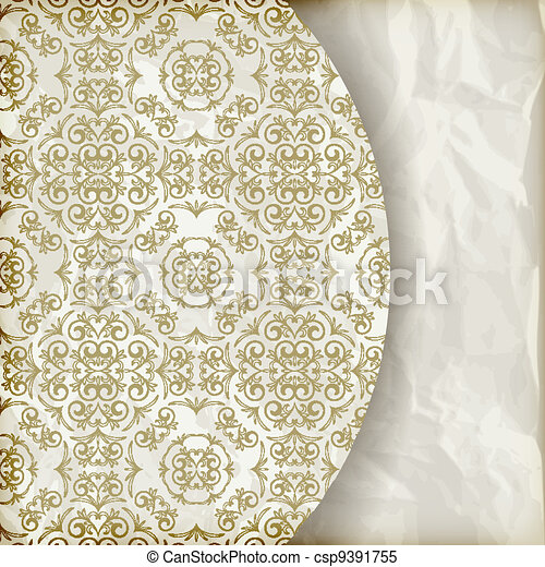 vector retro background with vintage seamless floral pattern, place for your text, crumpled paper texture, gradient mesh - csp9391755