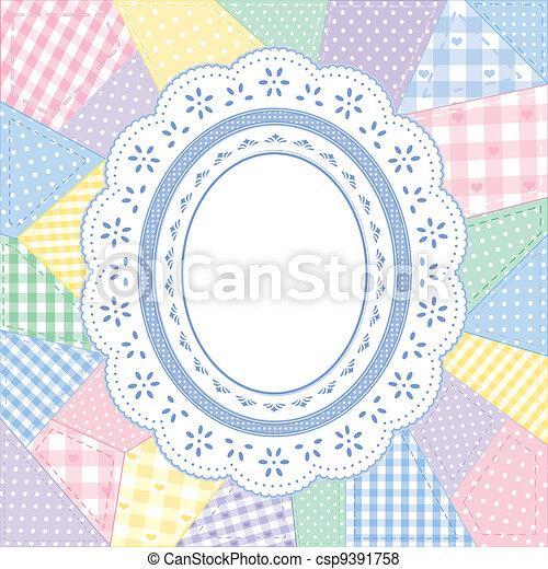 Lace Doily Patchwork Quilt Frame - csp9391758
