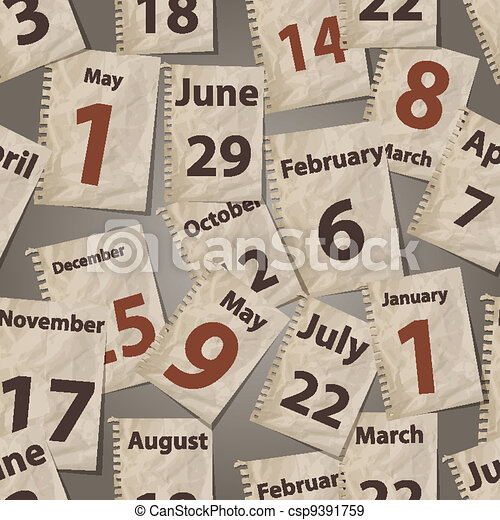vector seamless pattern with calendar torn away sheets - csp9391759