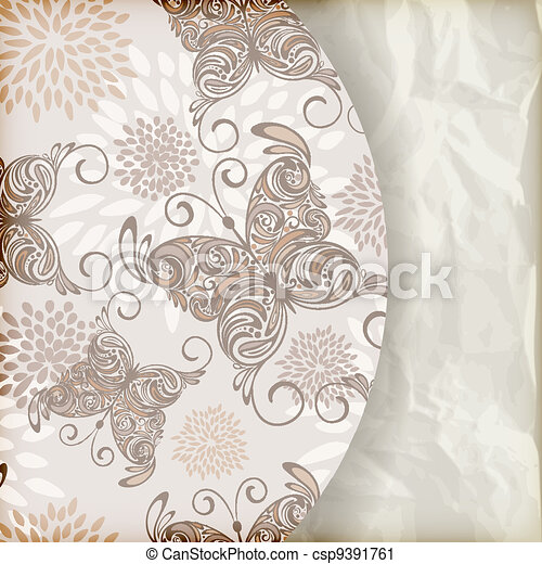 vector retro summer  background with vintage butterflies and floral pattern, place for your text, crumpled paper texture, gradient mesh - csp9391761