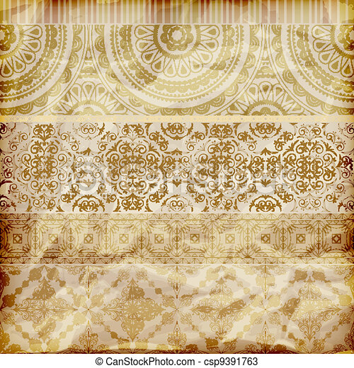 vector seamless floral borders on  crumpled golden foil  paper texture - csp9391763