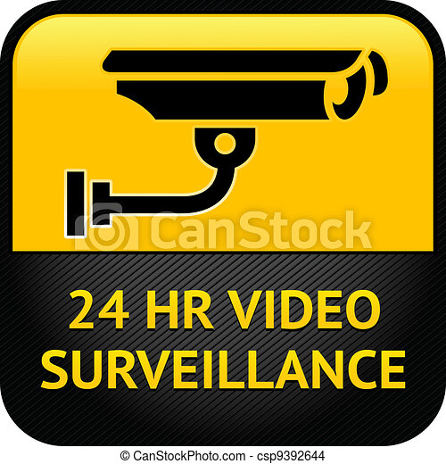 Video surveillance sign, cctv sticker - csp9392644