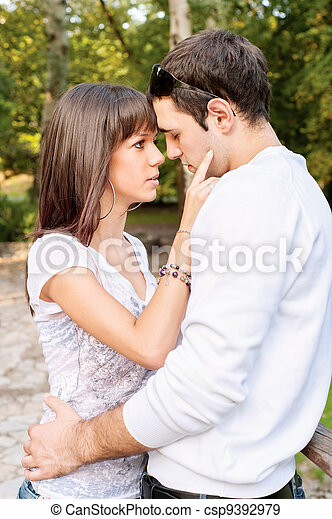 young couple in love on a summerday - csp9392979